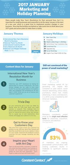 Use the infographic below to generate some content ideas for January and start the year off right.