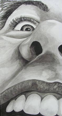 Water Soluble Graphite w/ Mixed Media, close-up of self - Conway High School Art Project