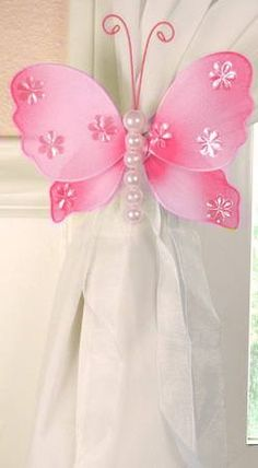 The Butterfly Grove Isabella Butterfly Curtain Tieback for Baby, Pink Carnation, x Diy Butterfly Decorations, Wedding Chair Decorations, Balloon Flowers, Butterfly Flowers, Butterflies, Nylon Flowers, Silk Flowers, Decoration Shabby, Pink Curtains
