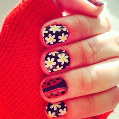 Jamberry nail wraps. Lady in Red and Simply Daisy. If you love this look visit my website to order http://sharlaschoen.jamberrynails.net/shop