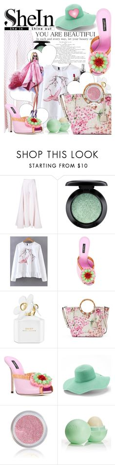 """""""Cranes Embroidery Peplum Blouse from SheIn"""" by anin-kutak ❤ liked on Polyvore featuring Rosie Assoulin, MAC Cosmetics, Dolce&Gabbana, Marc Jacobs, Dana Buchman, Peter Grimm and Eos"""