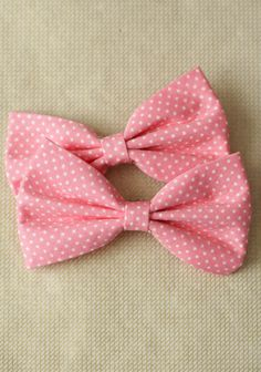 """Girl Next Door Bow Hairclip Set 12.99 at shopruche.com. This set of adorable pink bow clips are perfected with tiny cream colored polka dots., , 4"""" bow"""
