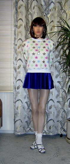 https://flic.kr/s/aHskWLrKAG | Starry pullover and  blue mini skirt