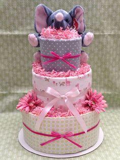 Pink Elephant Diaper Cake for Baby Shower por MrsHeckelDiaperCakes,