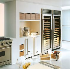 There's no reason a kitchen can't also be a wine cellar. #clever