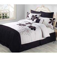 Fulton 8-Piece Comforter Set, Black and White. I want this for my room.