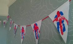 Union Jack handprint bunting for the jubilee Eyfs Activities, Nursery Activities, Birthday Activities, Wedding Activities, Birthday Crafts, Craft Activities For Kids, Preschool Crafts, Crafts For Kids, Arts And Crafts