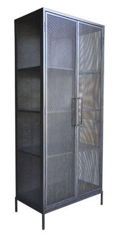 demian armoire antiqued bronze - Steel Cabinet w/Pierced Metal Doors