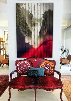 Suzani Banc painting on planks! Entryway Decor, Wall Decor, Diy Casa, Entry Way Design, Deco Boheme, Contemporary Interior Design, Decoration, Interior Inspiration, Wall Murals