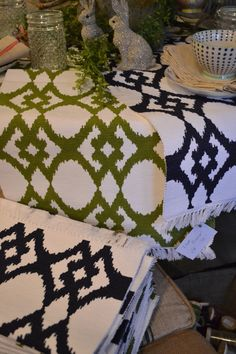 Ikat table runners.  Love the colors!