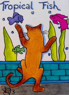 """Aceo Original """"TROPICAL FISH KITTY"""" pencil/ink ON EBAY"""
