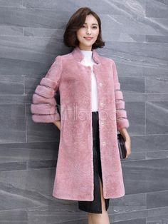 Розовый Мех Пальто средней длины 3 4 рукав стоять воротник женщин карманы  искусственный мех зимнее пальто - Milanoo.com ru baef2f64724