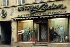 Greifswald 1990 January.  VEB Industrie  Laden Kleiderwerke