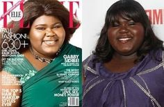 This is the Elle magazine cover that features the actress, Gabourey Sidibe. Her skin is drastically lighter on the cover than her usual self. Elle may have also been hiding her full-figured-body by cropping so close to Sidibe.