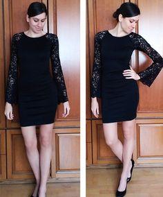 35045cfbc2 Csipke harang ujjú fekete ruha. Lace bell sleeve black dress. #lace  #bellsleeve