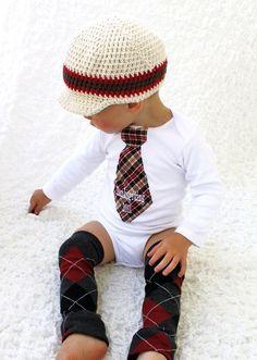Baby Boy Personalized Tie Onesie.  1st Thanksgiving, Christmas,  Harvest,  Autumn  and Leg Warmers SET.  Houndstooth, Plaid, Herringbone. $31.95, via Etsy.