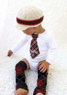 This is ADORABLE!! love the onsie-tie look :) Baby Boy Personalized Tie Onesie.  1st Thanksgiving, Christmas,  Harvest,  Autumn  and Leg Warmers SET.  Houndstooth, Plaid, Herringbone. $31.95, via Etsy.