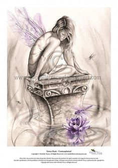 "Original Dragonfly Fairy Art, ""Contemplation"" by fantasy artist, Michelle Tracey. Buy beautiful fantasy paintings, fairy and dragonfly wall art prints & canvas art prints! Lotus Kunst, Lotus Art, Fairy Paintings, Fantasy Paintings, Beautiful Fantasy Art, Beautiful Fairies, Elfen Tattoo, France Tattoo, Dragonfly Wall Art"