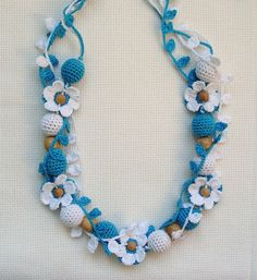 Nursing necklace with flower in blue   Necklace for от NittoMiton