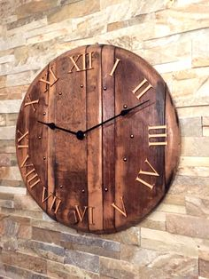 Solid oak red wine barrel lid wall clock with Roman numerals