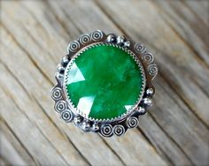Natural green Beryl ring. Sterling silver rose cut emerald green gemstone cocktail ring Rustic silver hand stamped green stone ring size 8.5