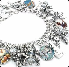 Silver Charm Bracelet Peter Pan Jewelry by BlackberryDesigns Pandora Jewelry, Charm Jewelry, Silver Jewelry, Charm Bracelets, Charm Necklaces, Jewlery, Silver Ring, Ankle Bracelets, Antique Jewelry