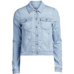 ONLY Short Denim Jacket ($30) ❤ liked on Polyvore featuring outerwear, jackets, denim, denim jackets, coats & jackets, light blue denim, flap jacket, tall jacket, button jacket and blue jackets
