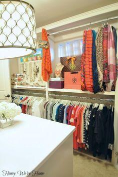 """Organized """"Boutique"""" Closet // Honey We're Home. This is a cool closet. Closet Organisation, Home Organization, Dressing Room Closet, Dressing Rooms, Creative Closets, Closet Vanity, Master Bedroom Closet, Glam Room, Dream Closets"""