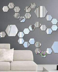 Mirror Decal, Mirror Wall Stickers, Wall Stickers Home, Diy Mirror, Acrylic Mirror, Wall Mirrors, Mirror Mirror, Wall Decals, Mirror Collage
