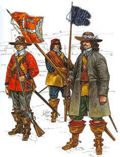 Dragoon, New Model Army, 1645, Cornet, Wardlawe's Dragoons, 1643 and Cornet, Essex's Horse, 1643.