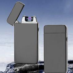 2016 nueva moda y caliente de la venta USB Eléctrico Doble Arco de Metal Sin Llama Recargable Antorcha Encendedor A Prueba de Viento