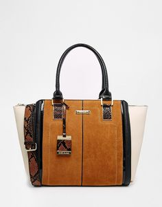 Image 1 of River Island Tan Suedette Winged Tote