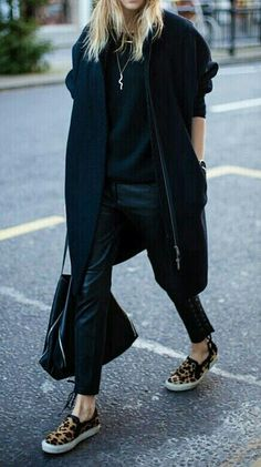 Total black with leopard slip ons