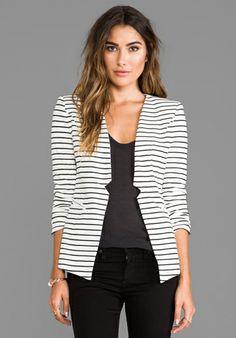ELLIATT Sleek Stripe Blazer in White/Black