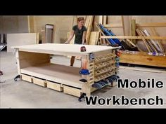 The Ultimate Plywood Workbench (plus Shop Storage Solutions) I built a quick but strong assembly table/workbench. I also threw in some really handy shop storage solutions.Don't miss the full build video above for more. Workbench Plans Diy, Mobile Workbench, Woodworking Bench, Woodworking Crafts, Garage Workbench, Youtube Woodworking, Woodworking Shop, Workbench Organization, Workbench Height