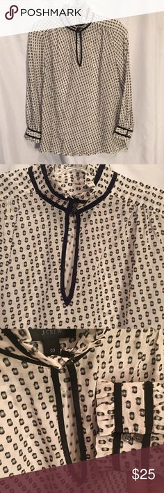 J Crew silk peekaboo front blouse 00 XS Semi sheer long sleep about blouse with button front peekaboo cut out. Small Ruffle A long neck and bottom sleeves. Read size 00 extra small. 75% silk 25% polyester.  Measures  bust 34 inches length 24 inches. J. Crew Tops Blouses