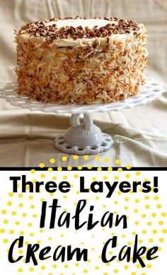 Italian Cream Cake is a three layer masterpiece of light sponge cakes with pecans, and luscious cream cheese frosting with toasted coconut, and vanilla and almond flavors! Italian Sponge Cake, Italian Cream Cakes, Italian Cake, Italian Desserts, Italian Almond Cream Cake Recipe, Best Cake Recipes, Cupcake Recipes, Cupcake Cakes, Dessert Recipes