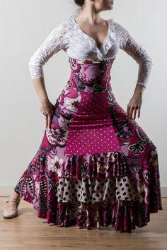 Falda baile flamenco , modelo delantal . Linea Vanguardia de LA Tate Flamenco.