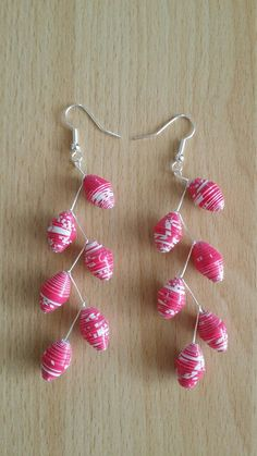Pink paper bead earrings