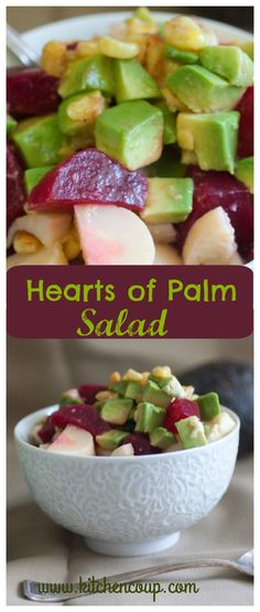 Hearts of Palm Salad - Kitchen Coup Healthy Salad Recipes, Clean Recipes, Vegetarian Recipes, Cooking Recipes, What's Cooking, Vegetable Recipes, Healthy Food, Healthy Eating, Hearts Of Palm Salad