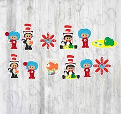 Dr. Seuss Inspired  Cupcake Topper/CaT In The Hat Inspired Cupcake Toppers/Birthday Cupcake Toppers by DianasDen on Etsy