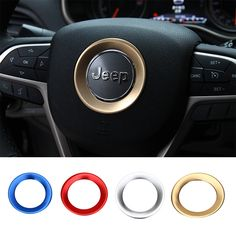 Car Inner Accessories Red Steering Wheel Trim fits Cherokee Jeep Grand Cherokee