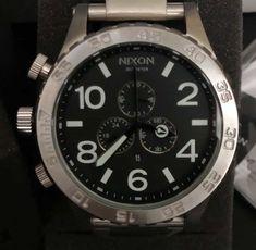 Relógio Nixon & Chrono & Prata c/ Fundo Preto & Réplica Premium AAA+ Bandanas, Accessories, Woman Watches, Crystals Minerals, Luxury, Hair, Bandana, Ornament