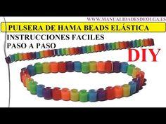 ▶ COMO HACER UNA PULSERA ELÁSTICA DE HAMA BEADS MUY FACIL, TUTORIAL DIY - YouTube