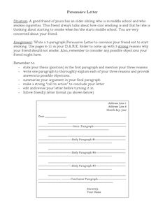 persuasive letter writing topics and graphic organizer education persuasive letter smoking