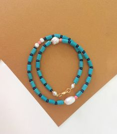 beaded turquoise tube bead necklace/freshwaterpearl necklace/turquoise gemstone necklace/stylish womens necklace/boho jewelry/pearl jewelry by Pearlsbymimmi on Etsy Pearl Gemstone, Turquoise Gemstone, Turquoise Bracelet, Boho Necklace, Gemstone Necklace, Pearl Jewelry, Boho Jewelry, Beaded Bracelets, Necklaces