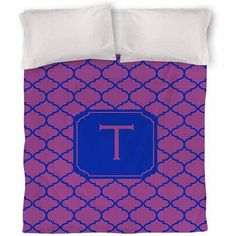 Thumbprintz Moroccan Monogram Magenta Duvet Cover, Purple