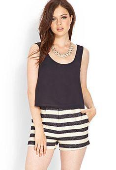 Striped Woven Sailor Shorts | LOVE21 - 2000073396
