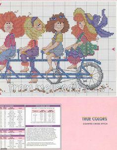 0 point de croix humour groupe de filles sur meme vélo - cross stitch humor group of girls on same bicycle part2