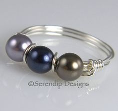 Silver Wrapped Wire Pearl Ring Three Swarovski Pearls Mauve, Night Blue, Brown